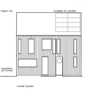 Facade mod SØ; med indgang og køkken - House Arkitekter