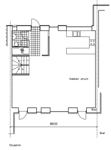 Stueetage; køkken og indgang mod NV - House arkitekter