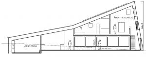 Fælleshus; Tværsnit set fra Ø - House Arkitekter